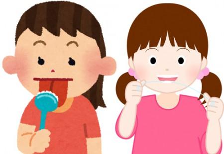 舌磨きとデンタルフロスのイメージカット